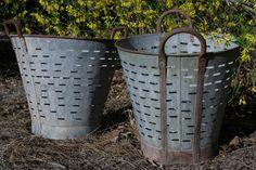 Vintage Olive Basket  Zinc and Metal