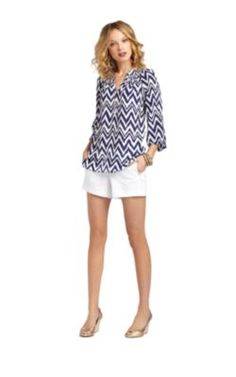 Lilly Pulitzer Elsa Top in Bright Navy Get Your Chev On $158