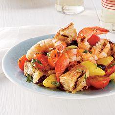Start with: Grilled Shrimp Panzanella Salad - Summer Party Menus - Coastal Living