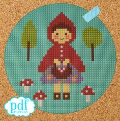 Little Red Riding Hood cross stitch, needlepoint, tapestry pattern. Fairytale PDF, instant digital d Cross Stitch Love, Modern Cross Stitch, Cross Stitch Designs, Cross Stitch Patterns, Cross Stitching, Cross Stitch Embroidery, Embroidery Patterns, Stitch Witchery, Foto Baby