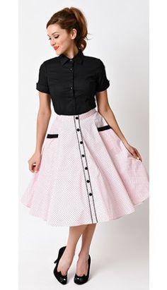 5c02a61468e2 Hell Bunny Retro Pin Up Pink Dot High Waist Martie Circle Swing Skirt  Skatekjolar, Retro