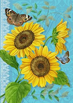 Sunflower Decorative House Flag by Briarwood Lane. Printed on durable polyester for outdoor display. Size: 28 x 40 inch. Butterfly Drawing, Butterfly Wallpaper, Flower Drawings, Summer Quilts, Summer Painting, Sunflower Art, Outdoor Flags, Paint And Sip, Flag Decor
