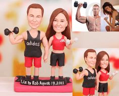 workout couple theme  Personalised wedding by UniqueCakeToppers