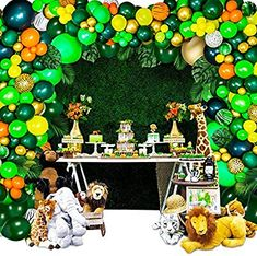 Party Rock Inc Lion King Party Supplies - Jungle Theme Party Supplies - Safari Decorations 158 PCS Balloon Garland Kit for Birthday - Baby Shower - Kids Party Favor Jungle Theme Parties, Jungle Theme Birthday, Safari Theme Party, Happy Birthday Decor, 2nd Birthday Party For Boys, Safari Party Decorations, Birthday Balloon Decorations, Lion King Party, Animal Party