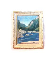 Vintage Oil Painting Original Painting Mountain Painting Framed Painting Impressionism Wood Carved Frame Antique Painting Reitz Art Wall Art