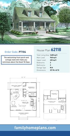 Cottage House Plan 62118 | Total Living Area: 1,400 SQ FT, 2 bedrooms and 2 bathrooms. The welcoming front porch and cottage style will make you  reminisce about the Good 'Ol Days. #cottagehome