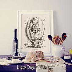 #LizasDigitalVintage Pineapple Fruit print Pineapple print by LizasDigitalVintage