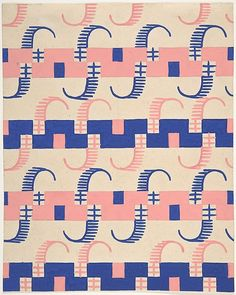 ¤ Fabric Design with Stripes -  Attributed to Paul Poiret  (French, Paris 1879–1944 Paris) Date: ca. 1918–25 Medium: Gouache and stencil over graphite Dimensions: 7 7/8 x 6 5/16 in. (20 x 16 cm)