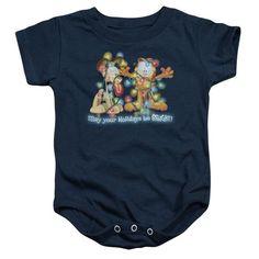 GARFIELD/BRIGHT HOLIDAYS-INFANT SNAPSUIT-NAVY-XL(24 MOS)  BRIGHT HOLIDAYS | Cartoon T-Shirts | Mopixiestore.com