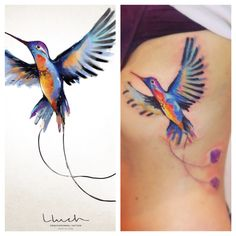 Watercolor tattoo.Hummingbird
