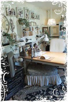 warm vintage inspired office, craft room