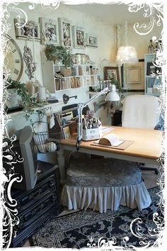 warm vintage inspired office, craft room...some pieces are very cool!