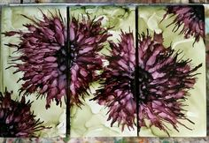 Set of the flowers in alcohol ink on 8x4 ceramic tile. Thank you Steph for inspiration,   by Tina
