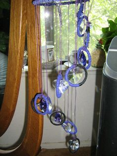 Blueberry Dreams Windchime has twelve dreamcatchers with crystals | Dreamcatcherman - Leather Craft on ArtFire