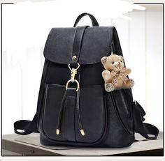 2016 fashion lovely black PU women leather backpack school bag female travel bags faux leather vintage daily backpacks casual