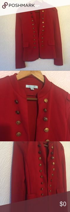 She and Sky Red Military Jacket Blazer Buttons She and Sky Red Jacket. Buttons all the way down both sides of the jacket. Hook and eye closure. Great to dress up or down. Use as a jacket, blazer, or to add character to any outfit. Has shoulder pads. Gorgeous Rope & Anchor Buttons.   Faux side pockets.   Measures Approximately: 16 pit to pit 25 1/2 sleeve 15 across waist She and Sky Jackets & Coats