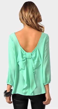 Mint Bow Back Blouse ♥ - Want to save 50% - 90% on women's fashion? Visit http://www.ilovesavingcash.com. Please follow us on Facebook https://www.facebook.com/lovesavingcash
