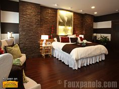 Professional home designers using Faux Panels® products can get a hand from on-staff consultants, ready to help execute interior or exterior design ideas. Brick Wall Bedroom, Accent Wall Bedroom, Accent Walls, Extreme Makeover Home Edition, Faux Stone Walls, Faux Brick, Home Bedroom, Master Bedroom, Bedroom Decor