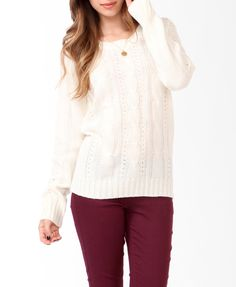 $22.80 Cable Knit Pointelle Sweater | FOREVER21 - 2027704865