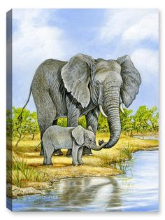 Elephant and Baby - Painting-Outdoor Wall Art - Weatherprint - Weatherproof Art for Indoor or Outdoor Canvas Art Baby Painting, Painting & Drawing, Watercolor Paintings, Painting Tips, Elephant Sketch, Elephant Art, Animal Paintings, Animal Drawings, Art Paintings