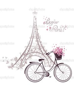 Bonjour Paris text with tower eiffel and bicycle. Romantic postc ...