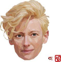 polygone art illust illustrator illustration woman actress