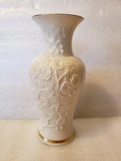 Lenox Vase with Floral Motif gold trim Lenox Christmas Ornaments, Lenox Vase, Vintage Trends, Floral Motif, Etsy Shop, Gold, Yellow