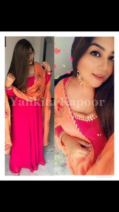 *festival* 🌸 *Reyon long gown with Gota patti work length full flar* …- Blouse ideas Bollywood Dress, Indian Bollywood, Pakistani Dresses, Indian Dresses, Bollywood Fashion, Red Kurti, Kurtis With Pants, Western Gown, Indian Kurta