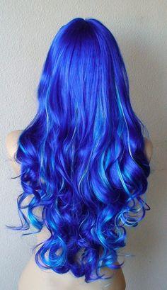 Halloween Special Three Tone Blue wig. Royal blue by kekeshop