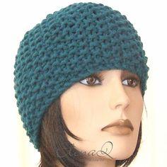 Berretto Zuccotto cappello lana merinos fatto a mano maglia PETROLIO