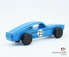 Blue Wooden Toy Car Wooden Car for kids boys by emanuelrufo