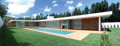 Vista da casa e piscina casas modernas por a.as, arquitectos associados, lda moderno | homify Canada House, Interior Minimalista, House Elevation, Australian Homes, Architecture, Decoration, Exterior Design, Deck, Woodworking