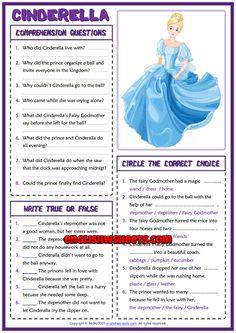 Cinderella ESL Reading Comprehension Questions Worksheet
