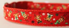 Reindeer Christmas Collar/Seasonal Print Dog by SewDogsDesign. $17.50+ depending on the collar size.  Use Coupon Code BONES at checkout to save 10%