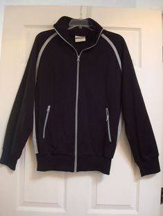 99be1c6b056edd Ace Brand Large Harlem Jacket Sweater Zip UP Black Long Sleeve Athletic  Mens  AceBrand