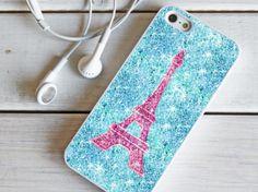eiffel glitter blue case For Samsung Galaxy S2