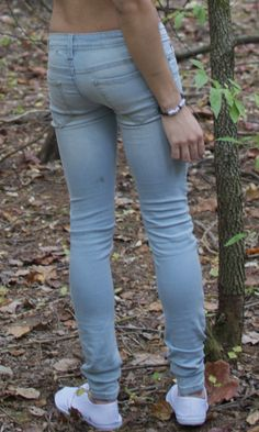 Skinny jeans in the woods