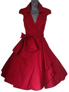 Olive Green 50's Style Rockabilly Swing Pinup Wrap Party Dress Sizes 6-20