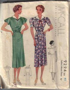 McCall 9294   ca. 1937 Ladies' & Misses' Dress