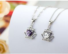 925 Sterling Silver Crown Pendant Necklace
