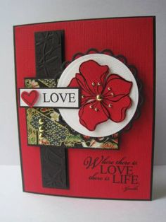 flower card using SU Embrace Life stamp set Asian Cards, Scrapbooking, Love Cards, Valentine Day Cards, Paper Cards, Creative Cards, Anniversary Cards, Greeting Cards Handmade, Homemade Cards