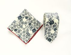Mens navy blue floral tie floral pocket square wedding tie gift for men navy floral skinny tie groomsmen by TheStyleHubTrends on Etsy