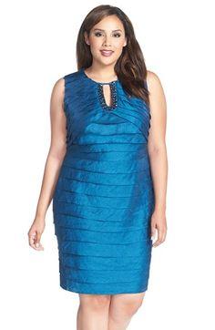 London Times Embellished Sleeveless Shimmer Tiered Sheath Dress (Plus Size)