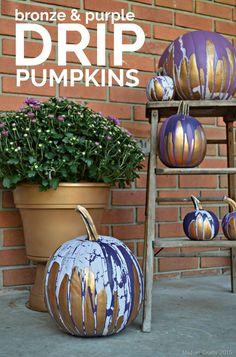 Bronze & Purple Drip Pumpkins #ad