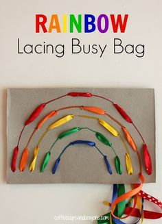 Get ready for some fine motor fun! This rainbow lacing busy bag will keep preschool kids busy while sharpening their fine motor skills. Rainbow Laces, Rainbow Theme, Motor Skills Activities, Fine Motor Skills, Toddler Preschool, Preschool Activities, Busy Bags, Business For Kids, Kids Learning