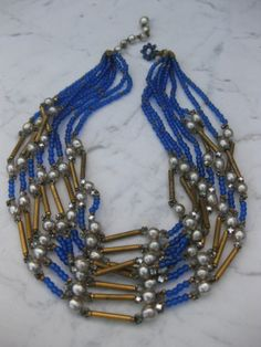 This Vintage Cobalt Blue Necklace - Miriam Haskell