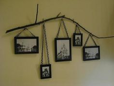 New Tree Branch Picture Wall Art Ideas Family Tree Wall, Tree Wall Art, Family Pics, Twig Crafts, Wood Crafts, Recycled Crafts, Diy Wood, Hanging Pictures, Do It Yourself Home