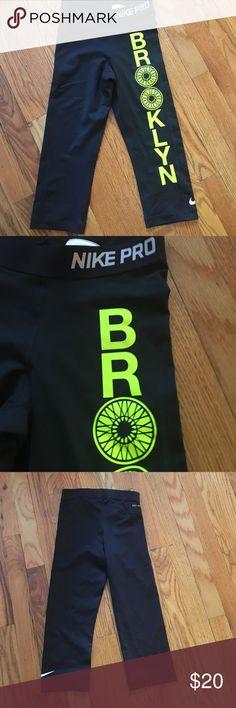 XS Dri-fit Nike Soul Cycle Brooklyn pants XS Dri-fit  Nike Soul Cycle Brooklyn pants with bright yellow/green logo. Elastic band with Nike Pro on it. Nike Pants