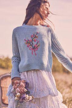 Rosie Sweater by LoveShackFancy Knitwear Fashion, Knit Fashion, Boho Fashion, Moda Boho, Chloe, Chunky Knitwear, Summer Knitting, Poses, Facon