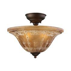 View the ELK Lighting 66341-3 Restoration Three-Light Semi-Flush Ceiling Fixture with Amber Antique Shade at LightingDirect.com.